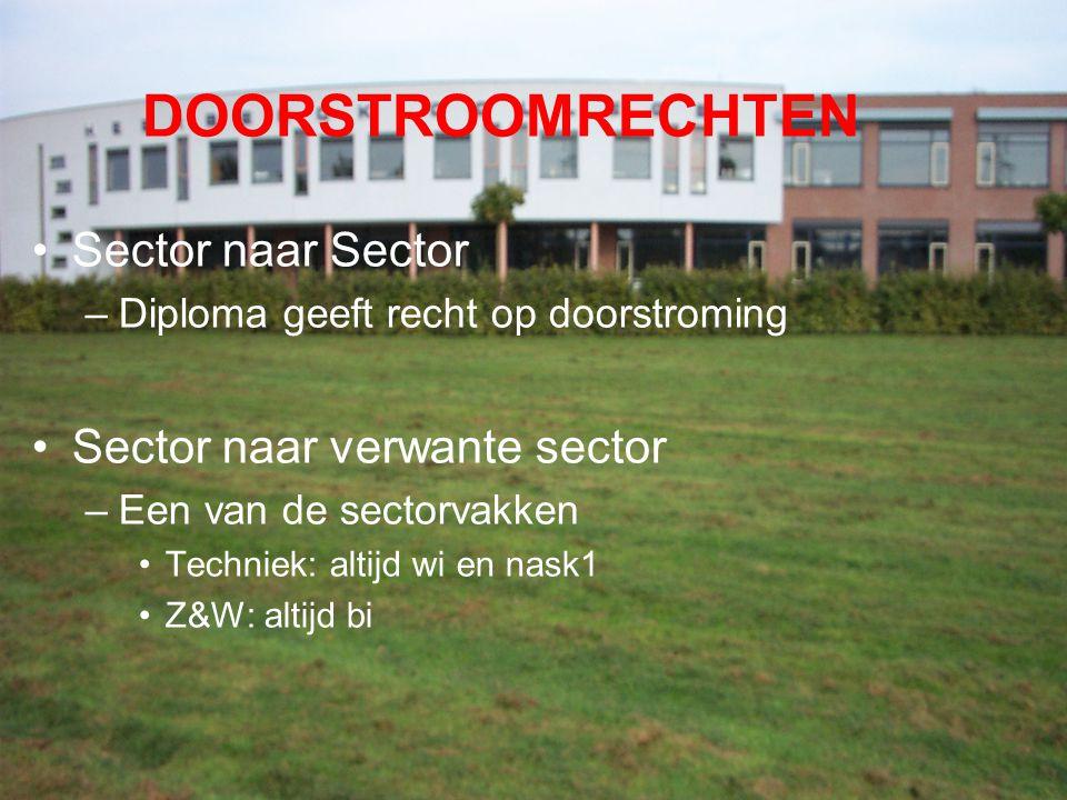 DOORSTROOMRECHTEN Sector naar Sector –Diploma geeft recht op doorstroming Sector naar verwante sector –Een van de sectorvakken Techniek: altijd wi en