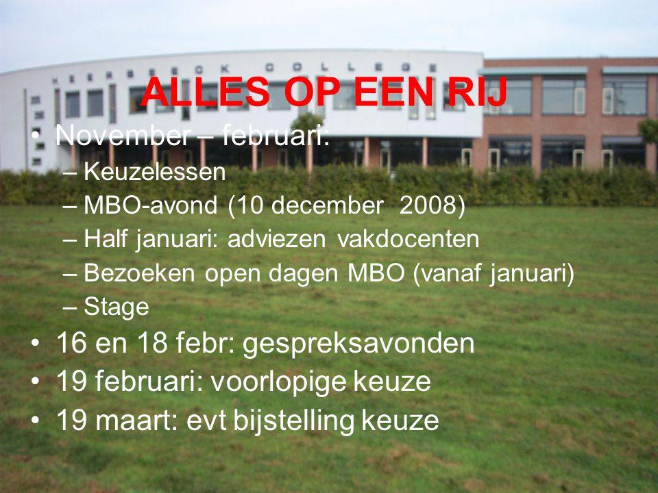 ALLES OP EEN RIJ November – februari: –Keuzelessen –MBO-avond (10 december 2008) –Half januari: adviezen vakdocenten –Bezoeken open dagen MBO (vanaf j
