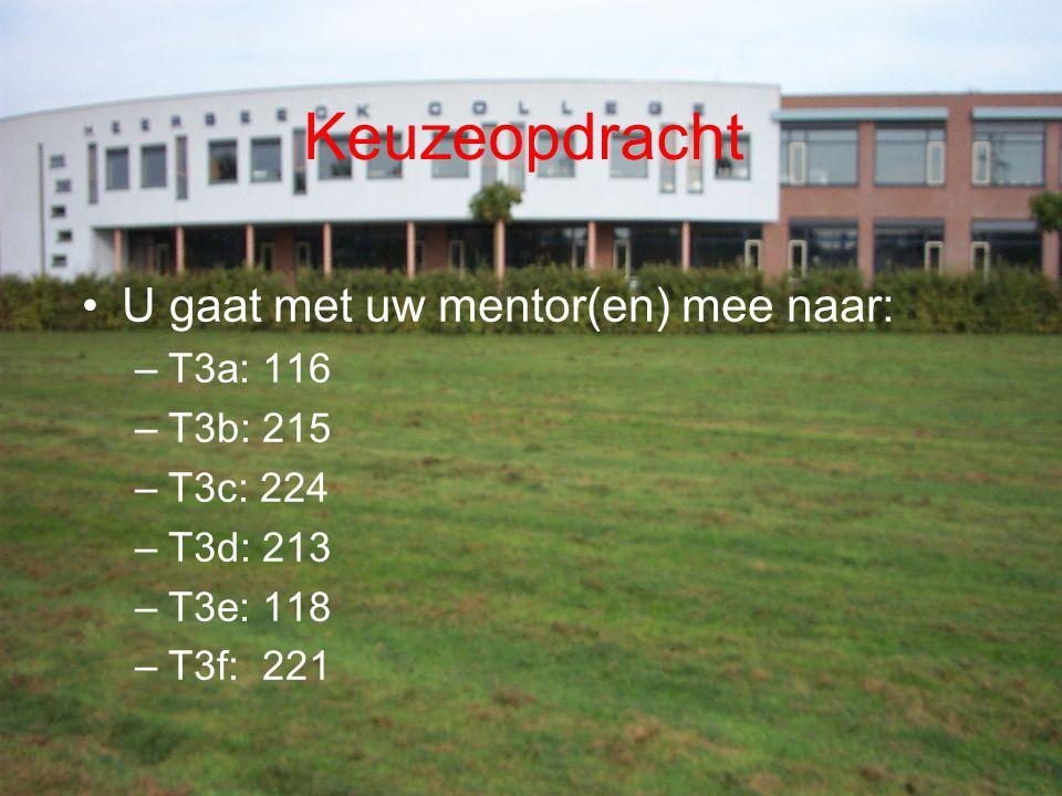 Keuzeopdracht U gaat met uw mentor(en) mee naar: –T3a: 116 –T3b: 215 –T3c: 224 –T3d: 213 –T3e: 118 –T3f: 221