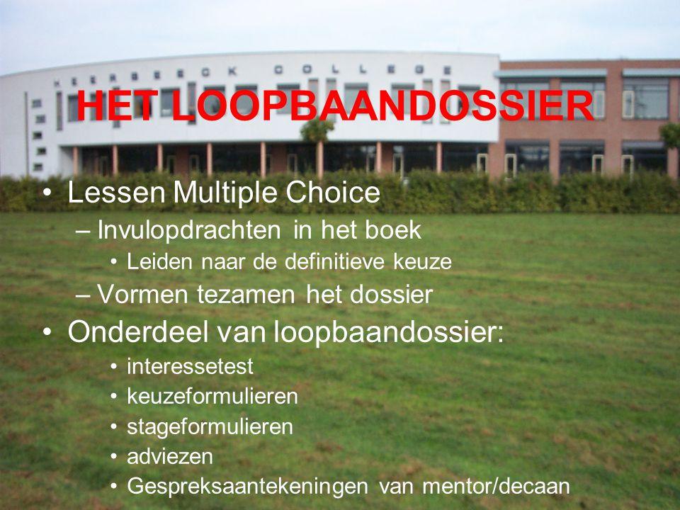 HET LOOPBAANDOSSIER Lessen Multiple Choice –Invulopdrachten in het boek Leiden naar de definitieve keuze –Vormen tezamen het dossier Onderdeel van loo