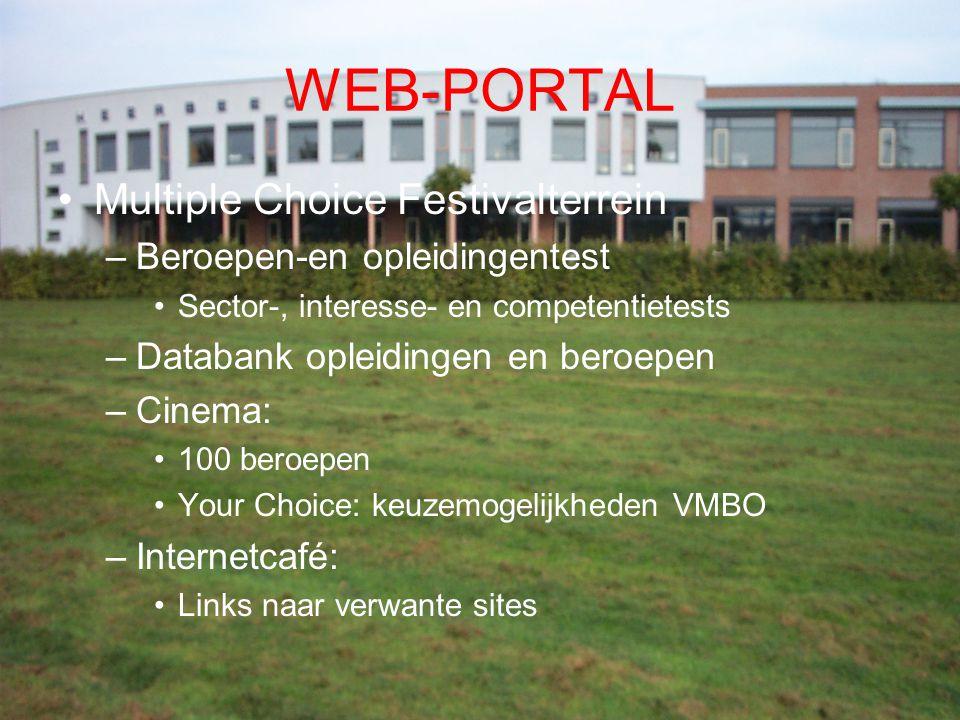 WEB-PORTAL Multiple Choice Festivalterrein –Beroepen-en opleidingentest Sector-, interesse- en competentietests –Databank opleidingen en beroepen –Cin