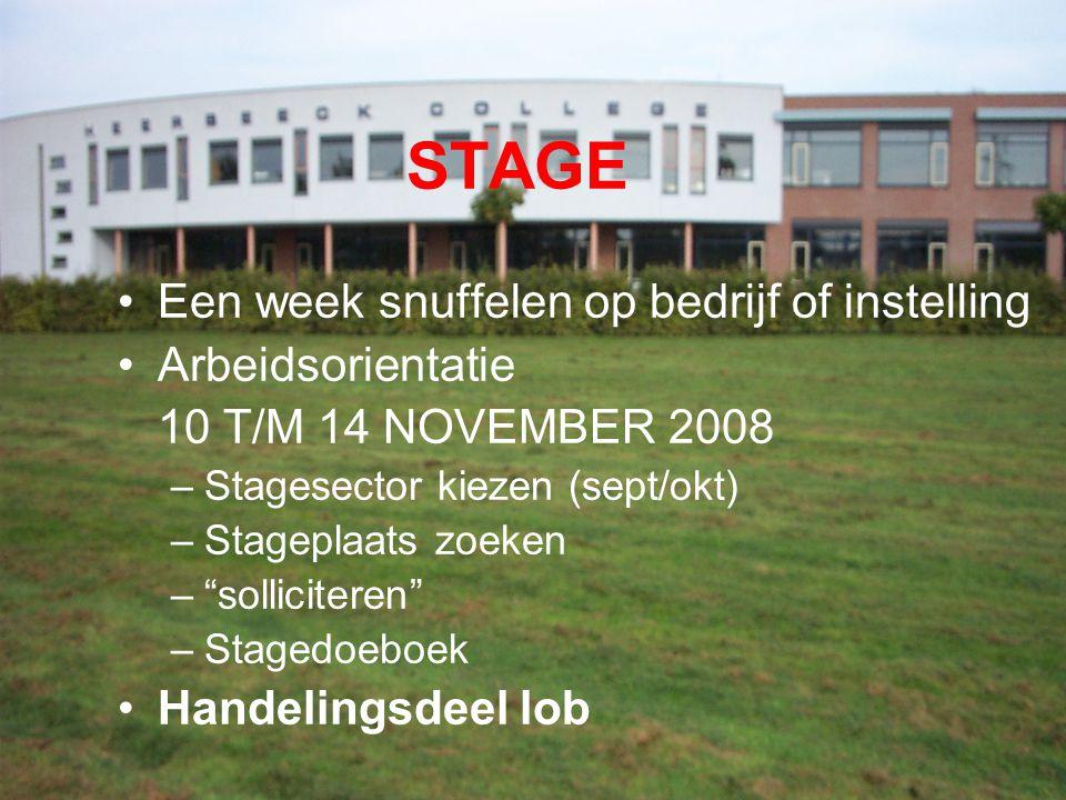 """STAGE Een week snuffelen op bedrijf of instelling Arbeidsorientatie 10 T/M 14 NOVEMBER 2008 –Stagesector kiezen (sept/okt) –Stageplaats zoeken –""""solli"""