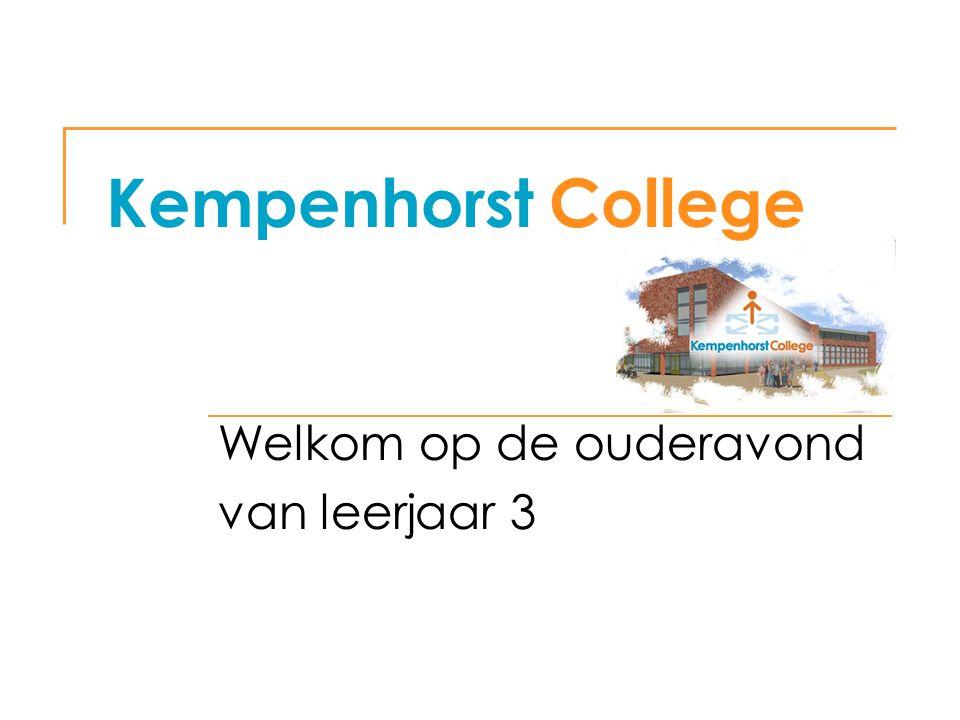 Kempenhorst College Welkom op de ouderavond van leerjaar 3