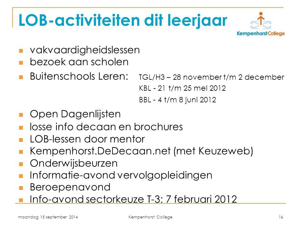 maandag 15 september 2014 Kempenhorst College 16 LOB-activiteiten dit leerjaar vakvaardigheidslessen bezoek aan scholen Buitenschools Leren: TGL/H3 –