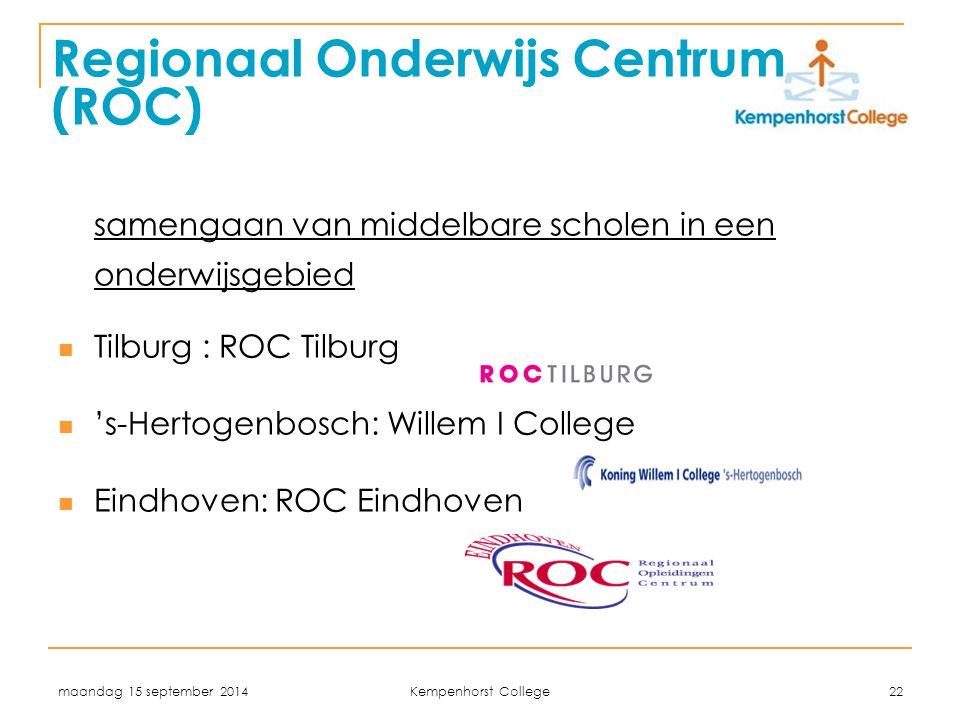 maandag 15 september 2014 Kempenhorst College 22 Regionaal Onderwijs Centrum (ROC) samengaan van middelbare scholen in een onderwijsgebied Tilburg : R