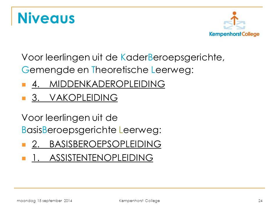 maandag 15 september 2014 Kempenhorst College 24 Niveaus Voor leerlingen uit de KaderBeroepsgerichte, Gemengde en Theoretische Leerweg: 4.MIDDENKADERO