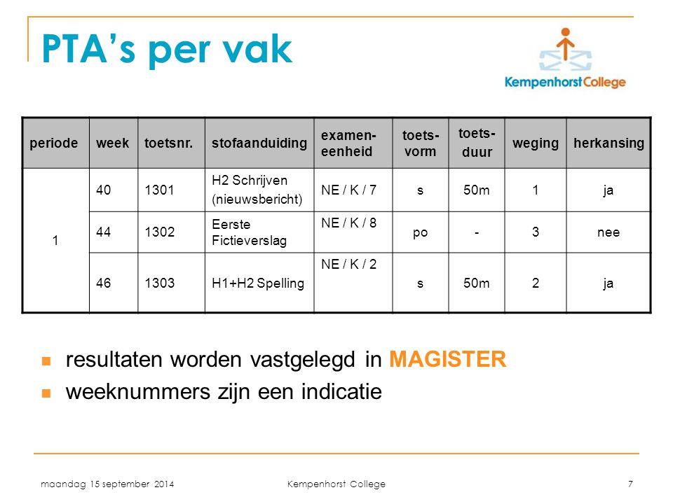maandag 15 september 2014 Kempenhorst College 7 PTA's per vak resultaten worden vastgelegd in MAGISTER weeknummers zijn een indicatie periodeweektoets