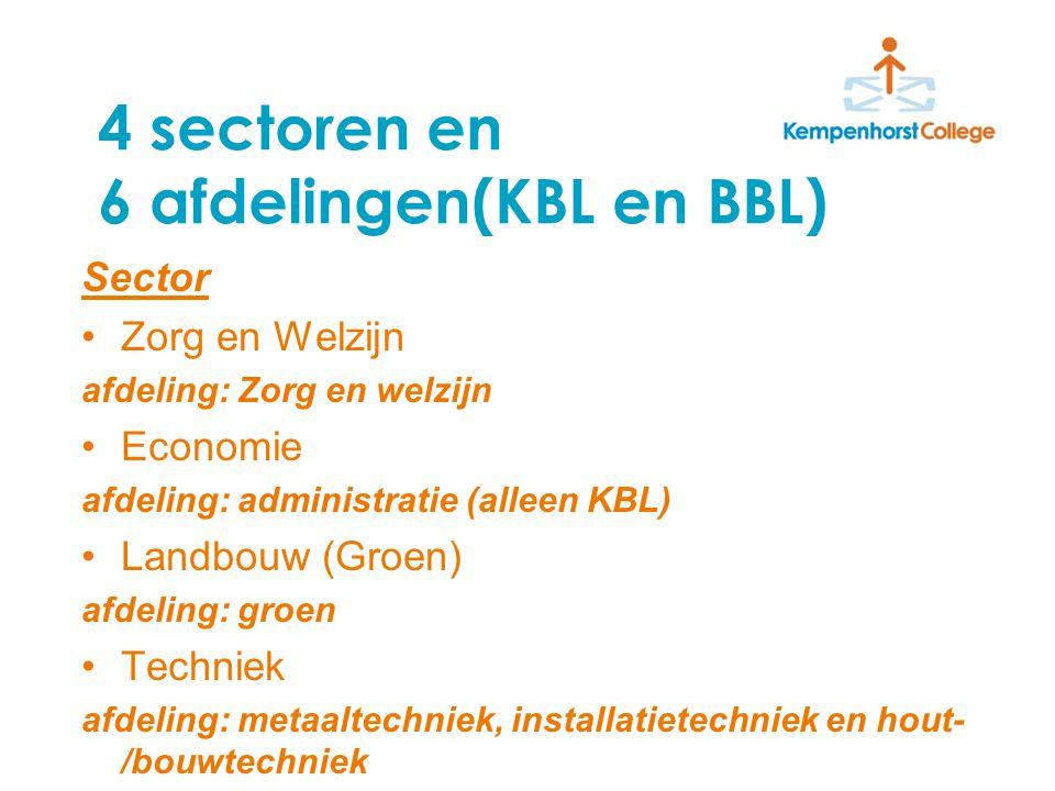 4 sectoren en 6 afdelingen(KBL en BBL) Sector Zorg en Welzijn afdeling: Zorg en welzijn Economie afdeling: administratie (alleen KBL) Landbouw (Groen) afdeling: groen Techniek afdeling: metaaltechniek, installatietechniek en hout- /bouwtechniek