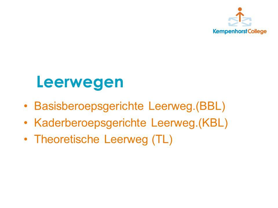 Leerwegen Basisberoepsgerichte Leerweg.(BBL) Kaderberoepsgerichte Leerweg.(KBL) Theoretische Leerweg (TL)