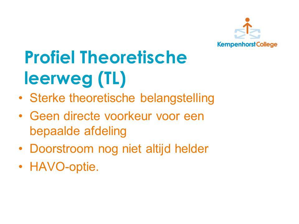 Profiel Theoretische leerweg (TL) Sterke theoretische belangstelling Geen directe voorkeur voor een bepaalde afdeling Doorstroom nog niet altijd helder HAVO-optie.