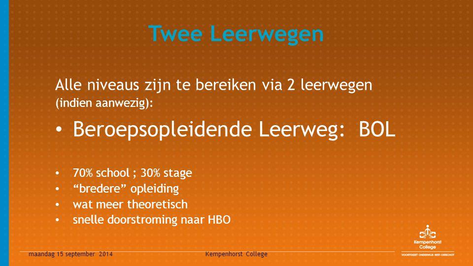 maandag 15 september 2014 Kempenhorst College Twee Leerwegen Alle niveaus zijn te bereiken via 2 leerwegen (indien aanwezig): Beroepsopleidende Leerwe