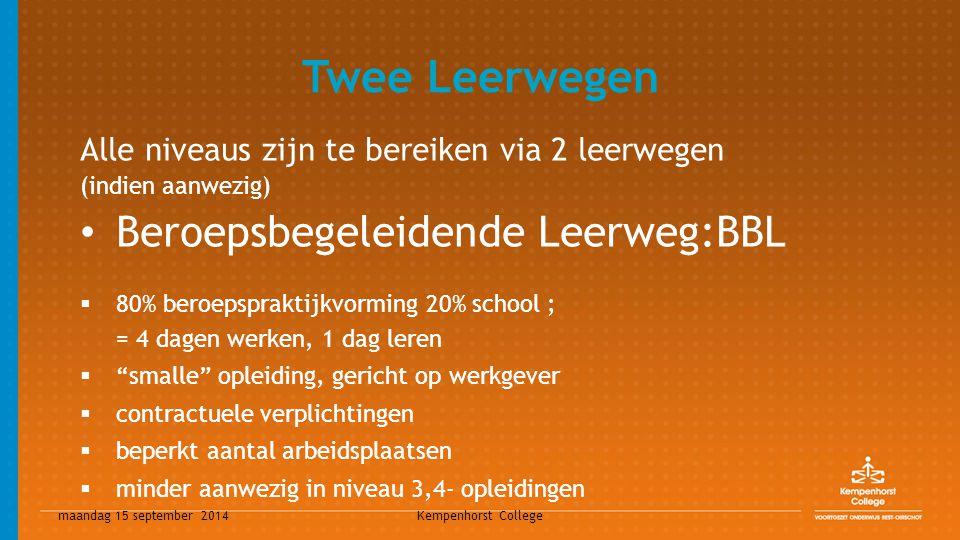 maandag 15 september 2014 Kempenhorst College Twee Leerwegen Alle niveaus zijn te bereiken via 2 leerwegen (indien aanwezig) Beroepsbegeleidende Leerw