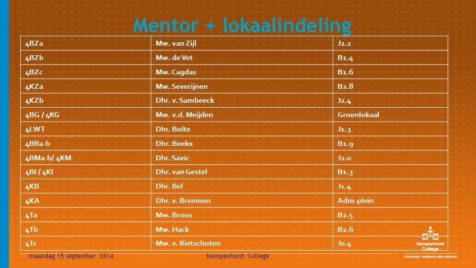 maandag 15 september 2014 Kempenhorst College Mentor + lokaalindeling 4BZaMw. van Zijl J2.2 4BZbMw. de Vet B1.4 4BZcMw. Cagdas B1.6 4KZaMw. Severijnen