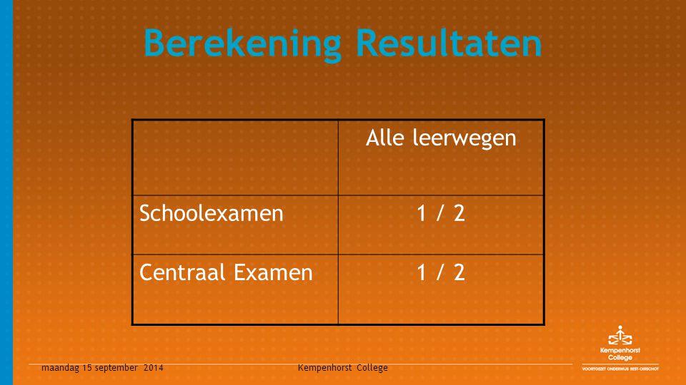 maandag 15 september 2014 Kempenhorst College Berekening Resultaten Alle leerwegen Schoolexamen1 / 2 Centraal Examen1 / 2