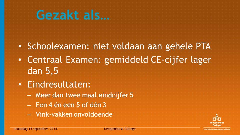 maandag 15 september 2014 Kempenhorst College Gezakt als… Schoolexamen: niet voldaan aan gehele PTA Centraal Examen: gemiddeld CE-cijfer lager dan 5,5