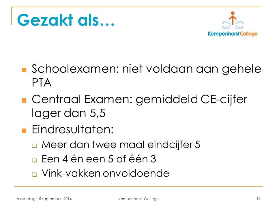 maandag 15 september 2014 Kempenhorst College 12 Gezakt als… Schoolexamen: niet voldaan aan gehele PTA Centraal Examen: gemiddeld CE-cijfer lager dan 5,5 Eindresultaten:  Meer dan twee maal eindcijfer 5  Een 4 én een 5 of één 3  Vink-vakken onvoldoende