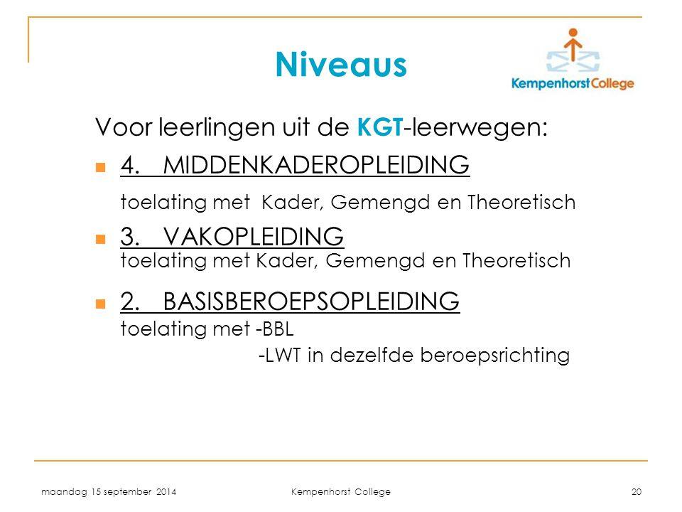 maandag 15 september 2014 Kempenhorst College 20 Niveaus Voor leerlingen uit de KGT -leerwegen: 4.MIDDENKADEROPLEIDING toelating met Kader, Gemengd en