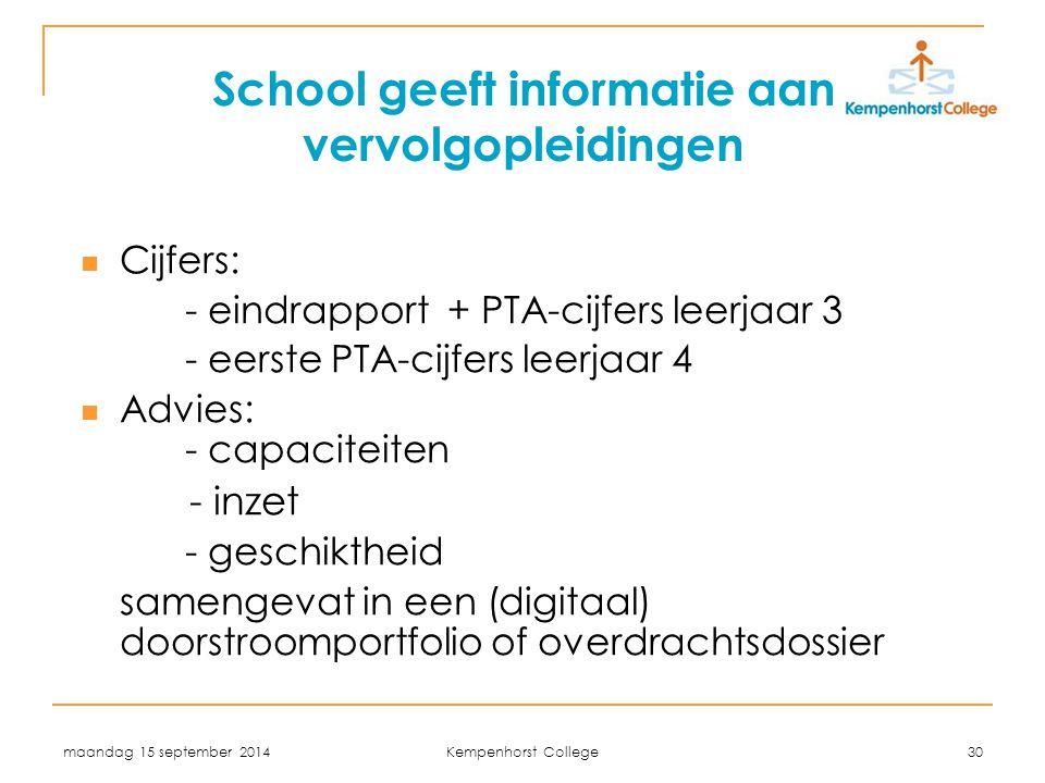 maandag 15 september 2014 Kempenhorst College 30 School geeft informatie aan vervolgopleidingen Cijfers: - eindrapport + PTA-cijfers leerjaar 3 - eers