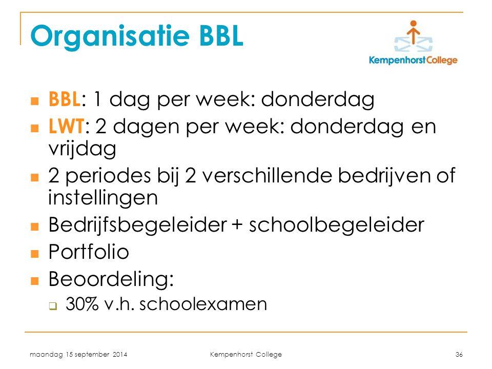 maandag 15 september 2014 Kempenhorst College 36 Organisatie BBL BBL : 1 dag per week: donderdag LWT : 2 dagen per week: donderdag en vrijdag 2 period