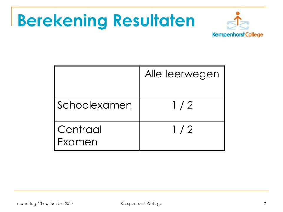 maandag 15 september 2014 Kempenhorst College 7 Berekening Resultaten Alle leerwegen Schoolexamen1 / 2 Centraal Examen 1 / 2