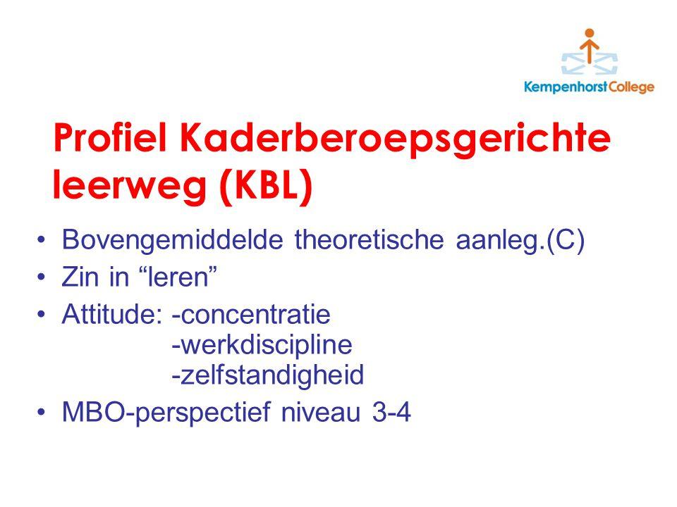 Profiel Kaderberoepsgerichte leerweg (KBL) Bovengemiddelde theoretische aanleg.(C) Zin in leren Attitude:-concentratie -werkdiscipline -zelfstandigheid MBO-perspectief niveau 3-4