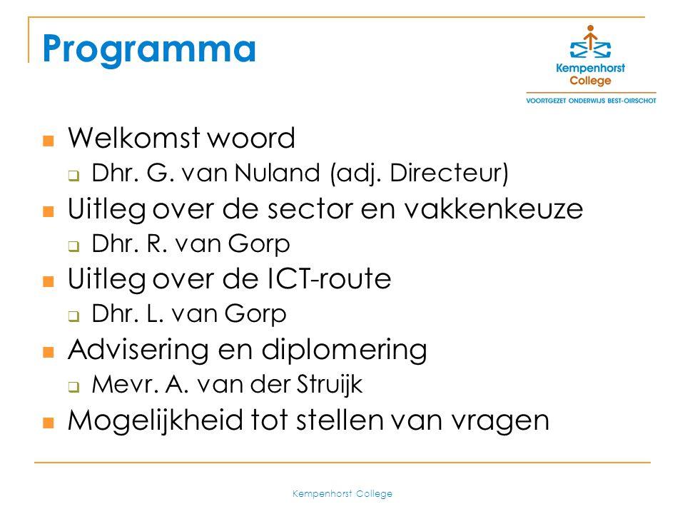 Kempenhorst College Voordelen ICT-route Goede voorbereiding op het MBO  Projectmatig en competentie gericht  ICT-vaardig Ook voor Havo voordelen:  Goede ondersteuning voor Profielwerkstuk  Evt.