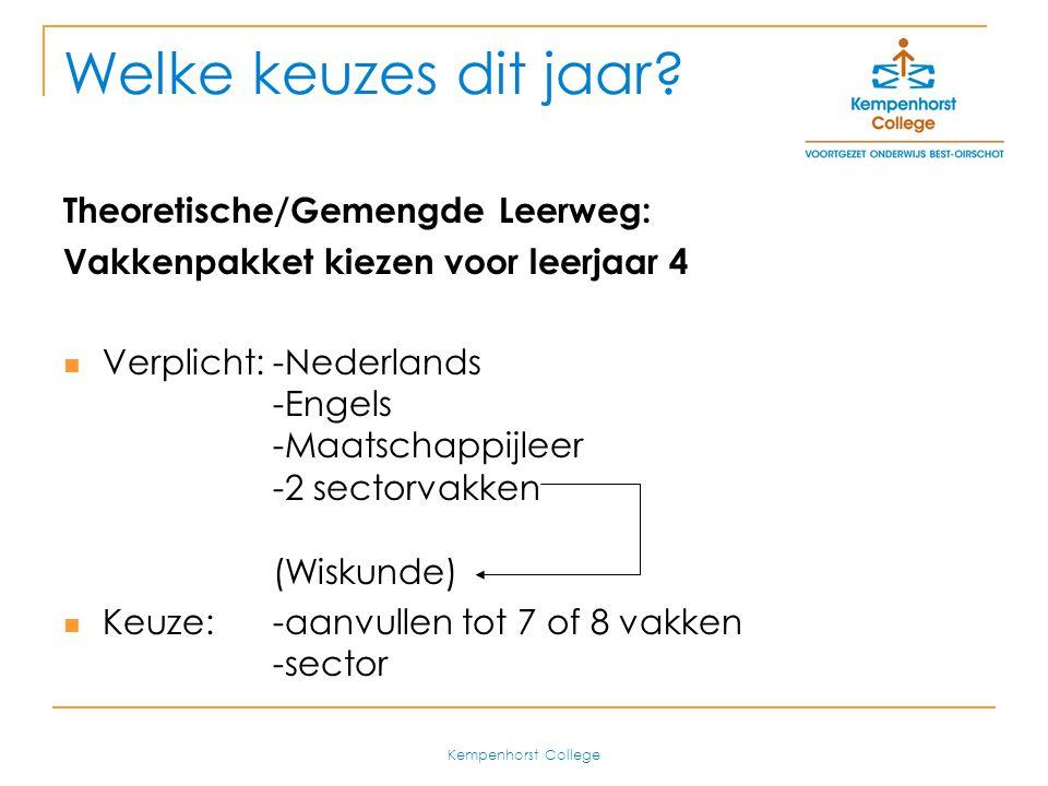 Kempenhorst College Advisering Alle AVO docenten brengen een advies uit: voldoende (V) of onvoldoende (O) Uitzondering: Engels, Nederlands en Maatschappijleer (verplichte vakken) Uitgangspunt: slagingskans Onvoldoende.