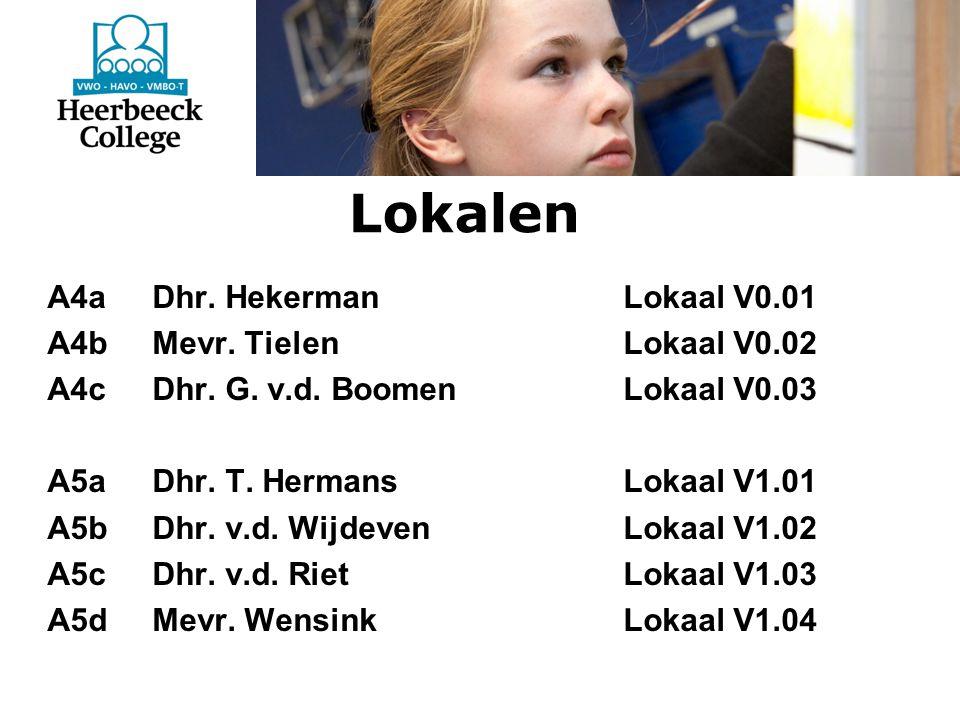 Lokalen A4a Dhr. HekermanLokaal V0.01 A4b Mevr. TielenLokaal V0.02 A4c Dhr.