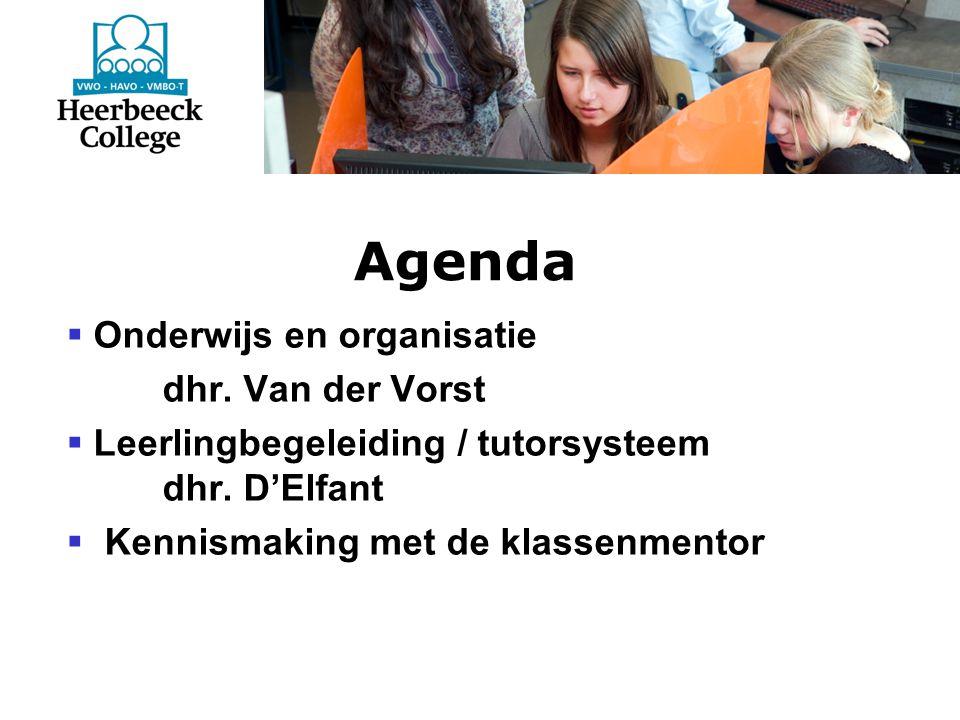 Agenda  Onderwijs en organisatie dhr. Van der Vorst  Leerlingbegeleiding / tutorsysteem dhr.