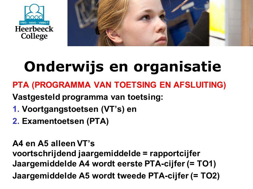 Onderwijs en organisatie PTA (PROGRAMMA VAN TOETSING EN AFSLUITING) Vastgesteld programma van toetsing: 1.