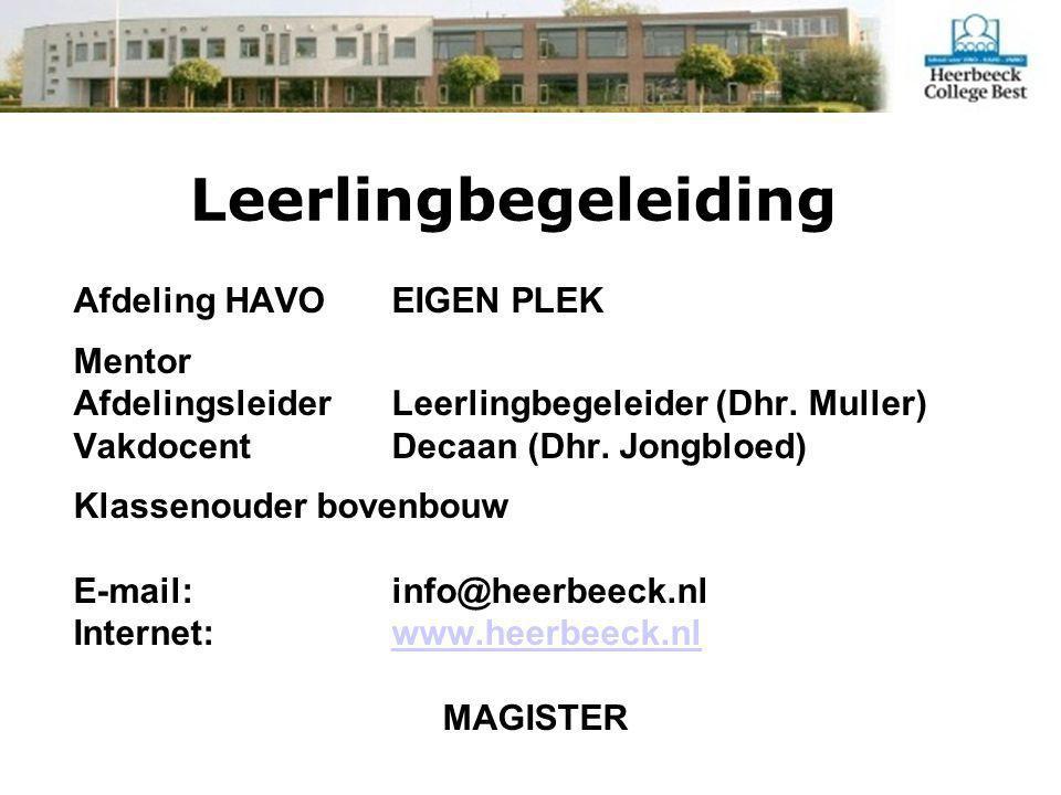 Leerlingbegeleiding Afdeling HAVO EIGEN PLEK Mentor AfdelingsleiderLeerlingbegeleider (Dhr.