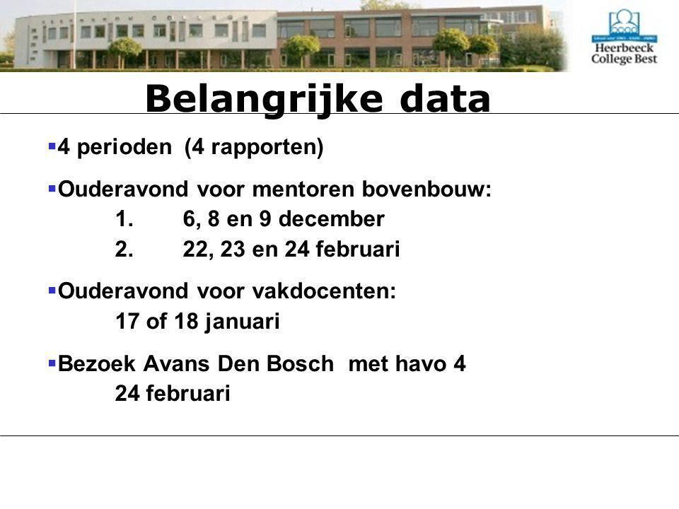 Belangrijke data  4 perioden (4 rapporten)  Ouderavond voor mentoren bovenbouw: 1.6, 8 en 9 december 2.22, 23 en 24 februari  Ouderavond voor vakdocenten: 17 of 18 januari  Bezoek Avans Den Bosch met havo 4 24 februari