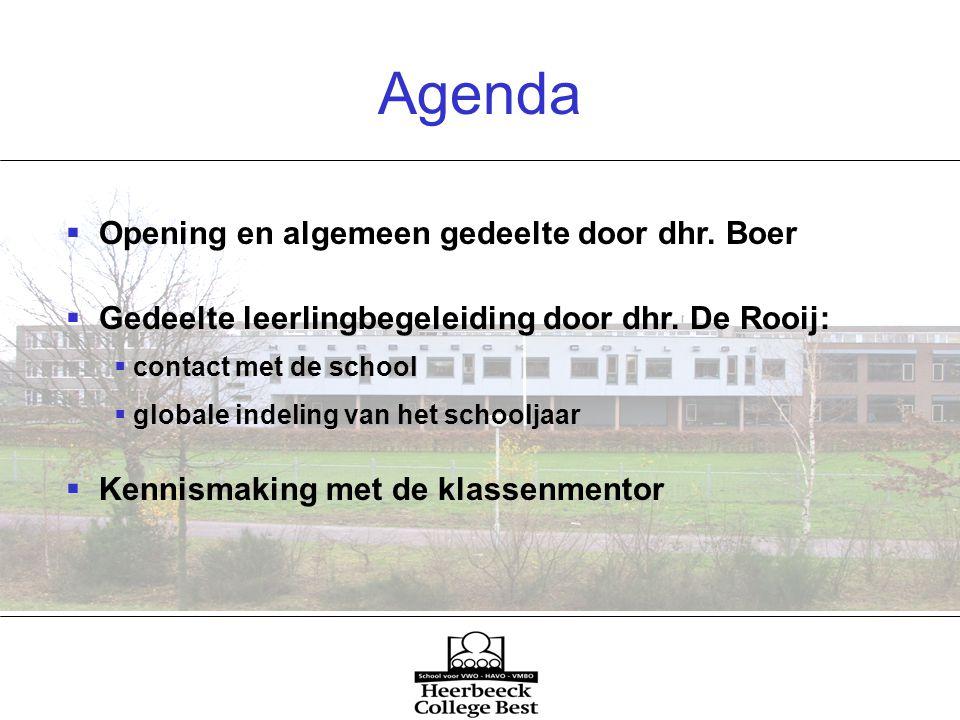 Agenda  Opening en algemeen gedeelte door dhr. Boer  Gedeelte leerlingbegeleiding door dhr.