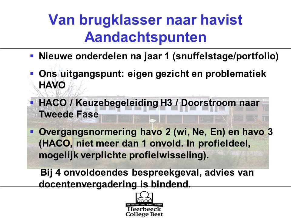 Van brugklasser naar havist Aandachtspunten  Nieuwe onderdelen na jaar 1 (snuffelstage/portfolio)  Ons uitgangspunt: eigen gezicht en problematiek HAVO  HACO / Keuzebegeleiding H3 / Doorstroom naar Tweede Fase  Overgangsnormering havo 2 (wi, Ne, En) en havo 3 (HACO, niet meer dan 1 onvold.