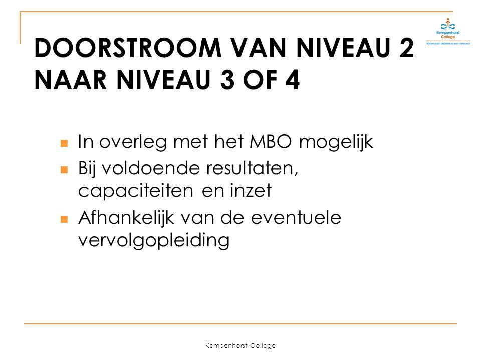Kempenhorst College DOORSTROOM VAN NIVEAU 2 NAAR NIVEAU 3 OF 4 In overleg met het MBO mogelijk Bij voldoende resultaten, capaciteiten en inzet Afhankelijk van de eventuele vervolgopleiding