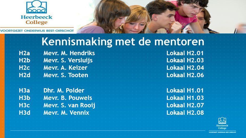 Kennismaking met de mentoren H2aMevr. M. HendriksLokaal H2.01 H2bMevr. S. VersluijsLokaal H2.03 H2cMevr. A. KeizerLokaal H2.04 H2dMevr. S. TootenLokaa