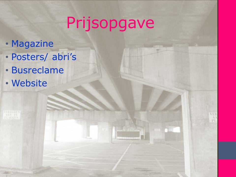 Prijsopgave Magazine Posters/ abri's Busreclame Website