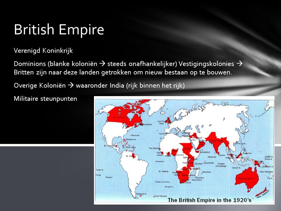 British Empire Verenigd Koninkrijk Dominions (blanke koloniën  steeds onafhankelijker) Vestigingskolonies  Britten zijn naar deze landen getrokken o