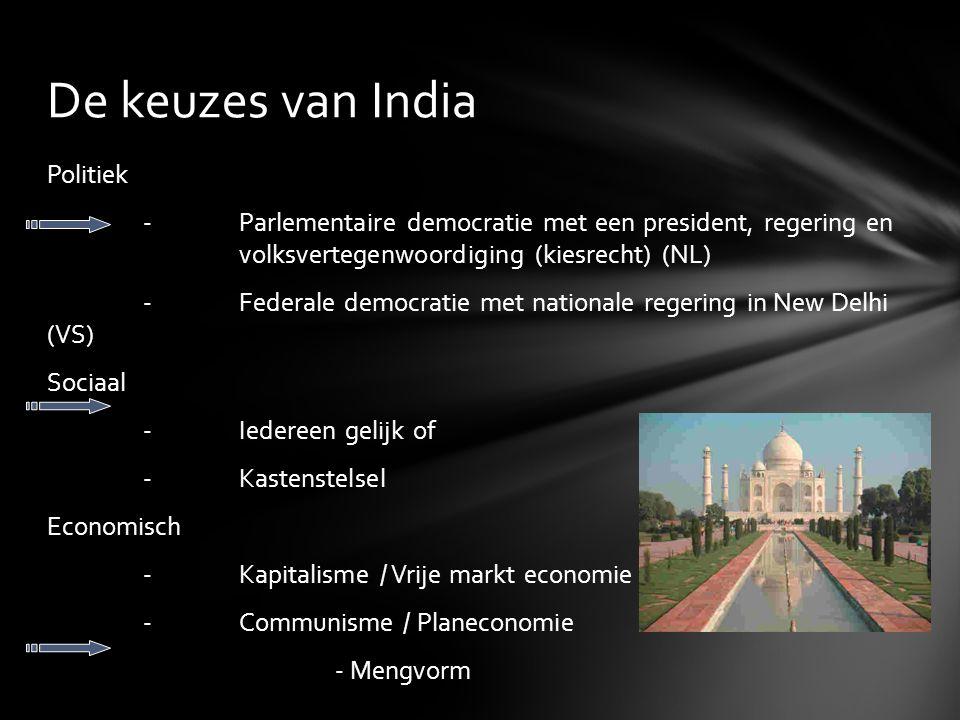 De keuzes van India Politiek -Parlementaire democratie met een president, regering en volksvertegenwoordiging (kiesrecht) (NL) -Federale democratie me