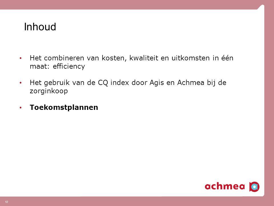 12 Inhoud Het combineren van kosten, kwaliteit en uitkomsten in één maat: efficiency Het gebruik van de CQ index door Agis en Achmea bij de zorginkoop