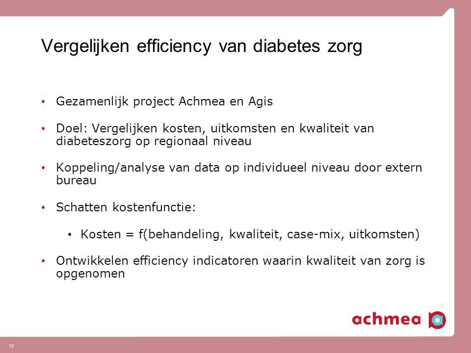 13 Vergelijken efficiency van diabetes zorg Gezamenlijk project Achmea en Agis Doel: Vergelijken kosten, uitkomsten en kwaliteit van diabeteszorg op r