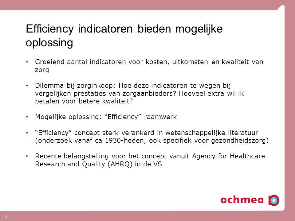 4 Efficiency indicatoren bieden mogelijke oplossing Groeiend aantal indicatoren voor kosten, uitkomsten en kwaliteit van zorg Dilemma bij zorginkoop: