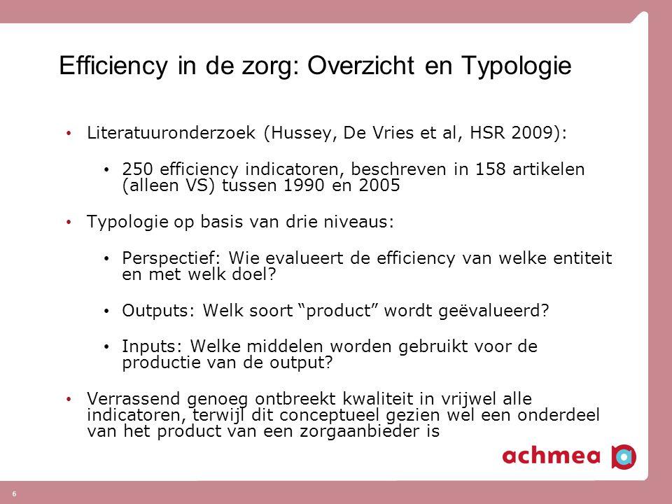 6 Efficiency in de zorg: Overzicht en Typologie Literatuuronderzoek (Hussey, De Vries et al, HSR 2009): 250 efficiency indicatoren, beschreven in 158