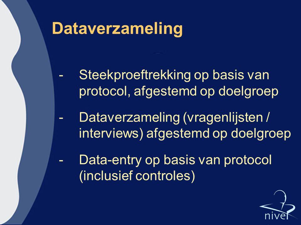 Dataverzameling -Steekproeftrekking op basis van protocol, afgestemd op doelgroep -Dataverzameling (vragenlijsten / interviews) afgestemd op doelgroep