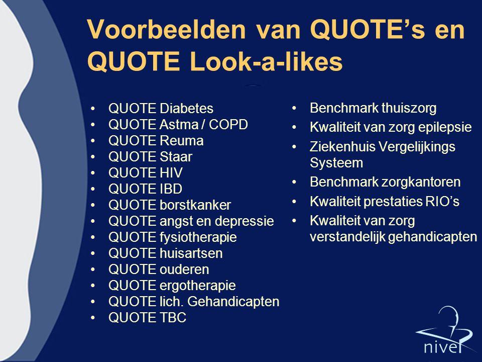 Voorbeelden van QUOTE's en QUOTE Look-a-likes QUOTE Diabetes QUOTE Astma / COPD QUOTE Reuma QUOTE Staar QUOTE HIV QUOTE IBD QUOTE borstkanker QUOTE an