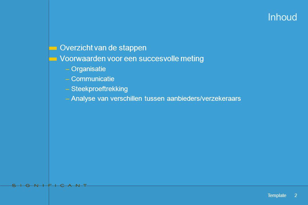 Template2 Inhoud Overzicht van de stappen Voorwaarden voor een succesvolle meting –Organisatie –Communicatie –Steekproeftrekking –Analyse van verschillen tussen aanbieders/verzekeraars