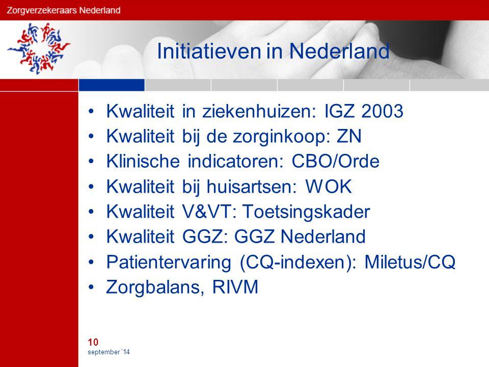 10 september '14 Initiatieven in Nederland Kwaliteit in ziekenhuizen: IGZ 2003 Kwaliteit bij de zorginkoop: ZN Klinische indicatoren: CBO/Orde Kwaliteit bij huisartsen: WOK Kwaliteit V&VT: Toetsingskader Kwaliteit GGZ: GGZ Nederland Patientervaring (CQ-indexen): Miletus/CQ Zorgbalans, RIVM