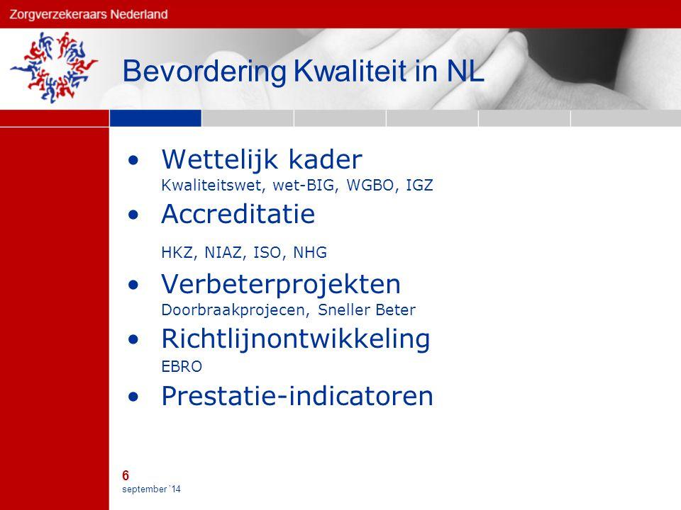 6 september '14 Bevordering Kwaliteit in NL Wettelijk kader Kwaliteitswet, wet-BIG, WGBO, IGZ Accreditatie HKZ, NIAZ, ISO, NHG Verbeterprojekten Doorbraakprojecen, Sneller Beter Richtlijnontwikkeling EBRO Prestatie-indicatoren