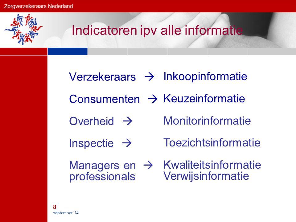 8 september '14 Indicatoren ipv alle informatie Verzekeraars  Consumenten  Overheid  Inspectie  Managers en  professionals Inkoopinformatie Keuzeinformatie Monitorinformatie Toezichtsinformatie Kwaliteitsinformatie Verwijsinformatie