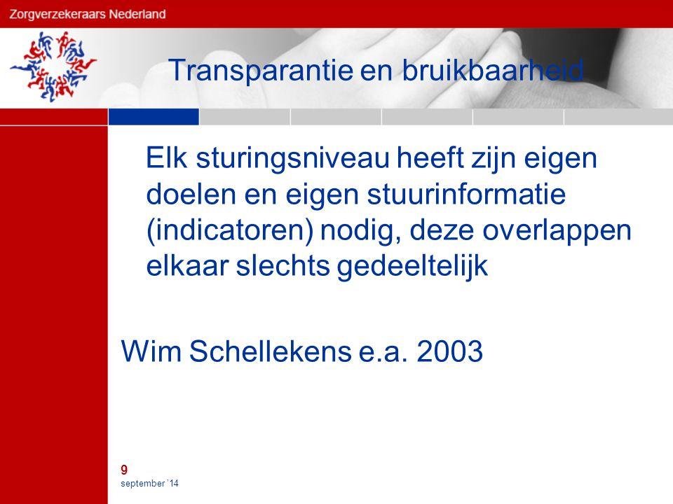 9 september '14 Transparantie en bruikbaarheid Elk sturingsniveau heeft zijn eigen doelen en eigen stuurinformatie (indicatoren) nodig, deze overlappen elkaar slechts gedeeltelijk Wim Schellekens e.a.